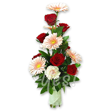 Bouquet of roses, gerberas and carnations