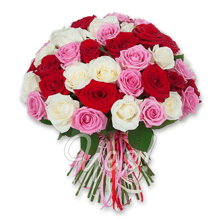 Bouquet of different color roses (50 cm.)